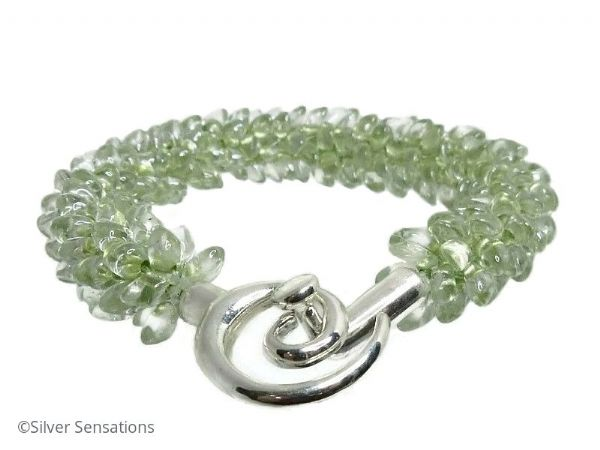 Pastel Green Petals Kumihimo Seed Bead Fashion Bracelet | Silver Sensations
